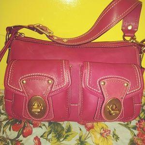 Coach F12868 Legacy raspberry Leather Satchel